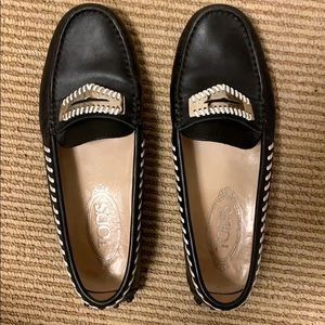 TOD'S GOMMINO DRIVING MOC BLACK LEATHER SILVER 37